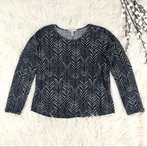 Forever 21 Black and White Chevron Dolman Top